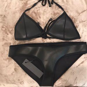 Black neoprene Triangl bikini NWT